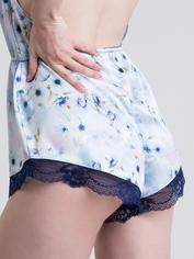 Lovehoney Watercolor Blue Lace and Floral Satin Teddy, Blue, hi-res