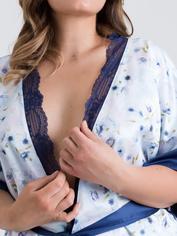 Lovehoney Watercolour seidige Robe mit blauer Spitze, Blau, hi-res