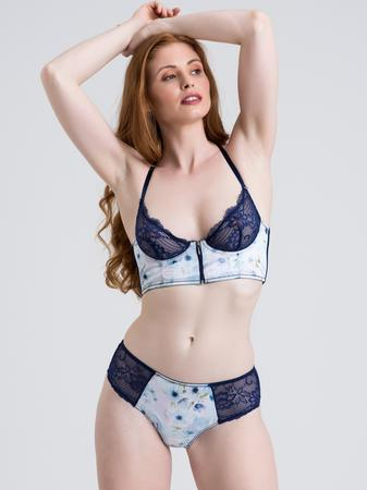 Lovehoney Watercolor Blue Lace and Floral Satin Bra Set