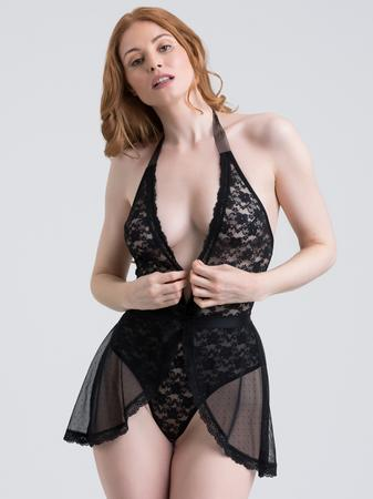 Lovehoney Peony Black Sheer Mesh and Lace Crotchless Teddy