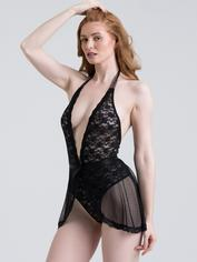 Lovehoney Peony Black Sheer Mesh and Lace Crotchless Teddy, Black, hi-res