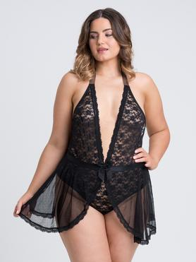 Lovehoney Plus Size Peony Black Sheer Mesh and Lace Crotchless Body