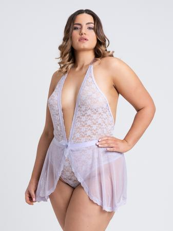 Lovehoney Plus Size Peony Lilac Sheer Mesh and Lace Crotchless Teddy