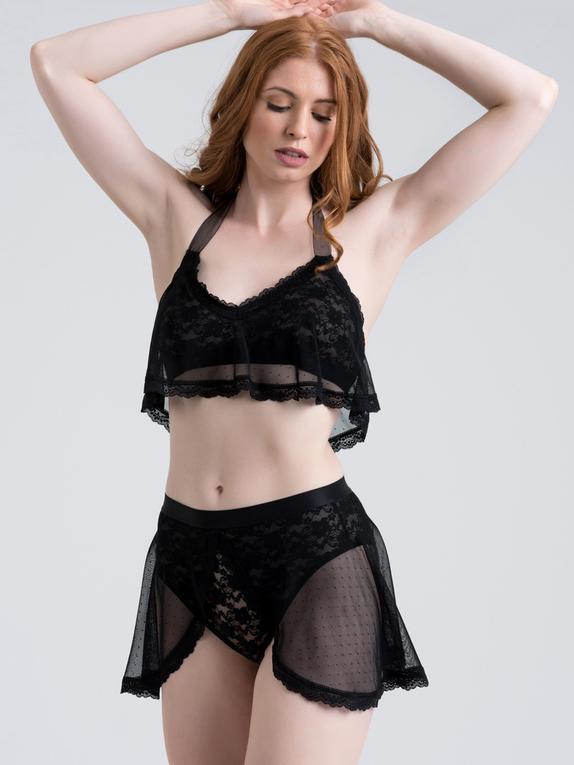 Lovehoney Peony Black Sheer Mesh and Lace Crotchless Bra Set, Black, hi-res