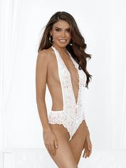 Escante White Lace Backless Pearl Thong Teddy, White, hi-res