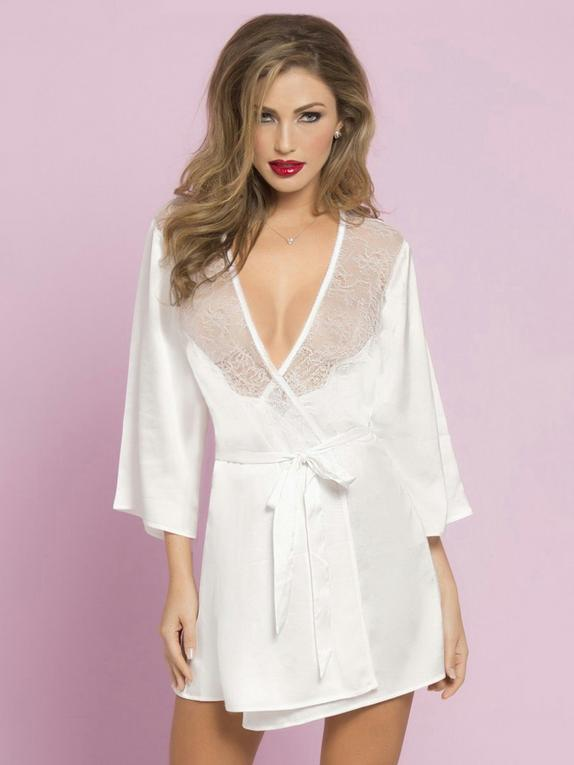 Seven 'til Midnight White Satin and Lace Robe, , hi-res