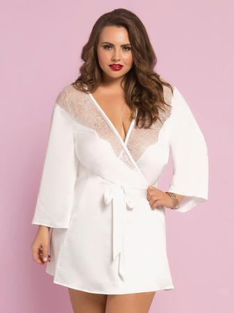 Seven 'til Midnight Plus Size White Satin and Lace Robe