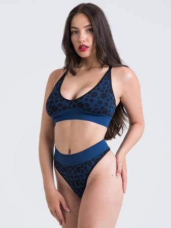 Lovehoney Mindful Blue Leopard Print Seamless Bra Set