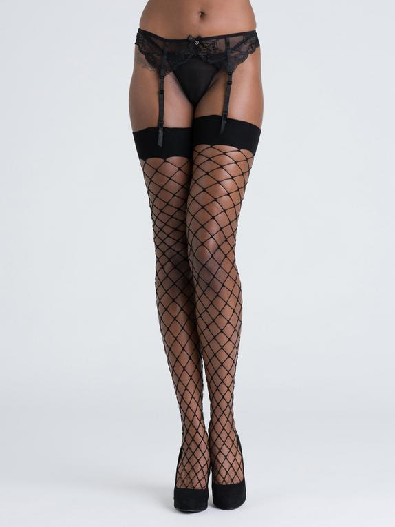Lovehoney Mindful ECONYL® Fishnet Stockings, Black, hi-res