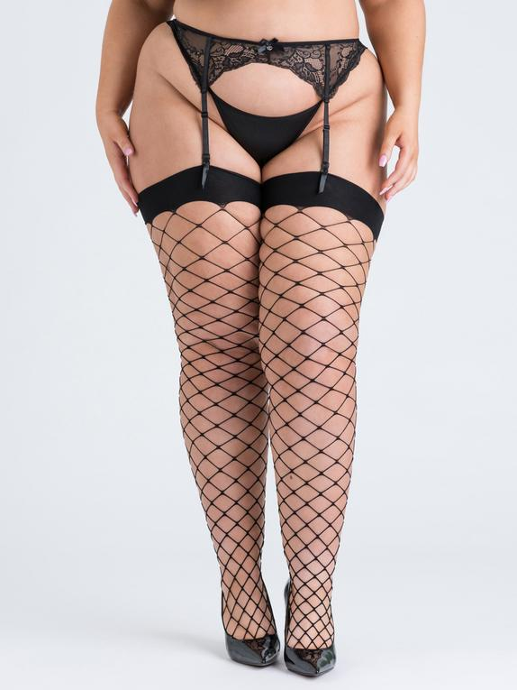 Lovehoney Mindful ECONYL® Fishnet Stockings, Black, hi-res