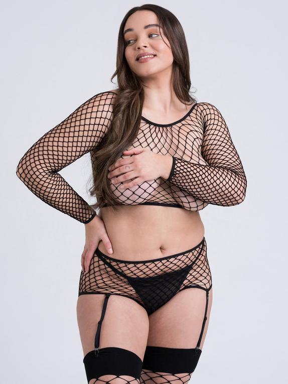 Lovehoney Mindful ECONYL® Fishnet Long Sleeve Top, Black, hi-res