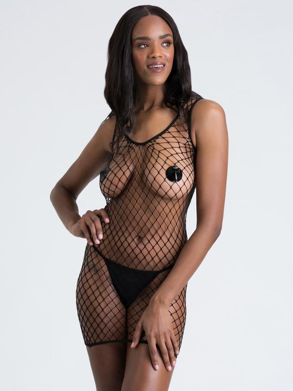 Lovehoney Mindful ECONYL® Fishnet Mini Dress, Black, hi-res