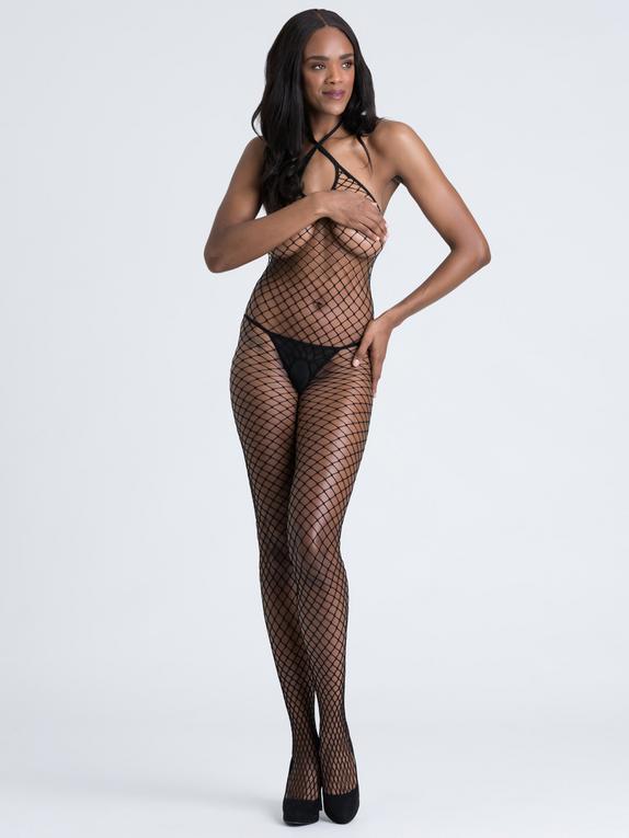 Lovehoney Mindful ECONYL® Fishnet Crotchless Bodystocking, Black, hi-res