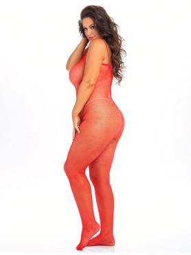 Rene Rofe Plus Size Red Crotchless Fishnet Bodystocking