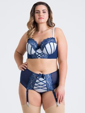 Lovehoney Plus Size Boudoir Belle Navy Blue Push-Up Longline Bra Set
