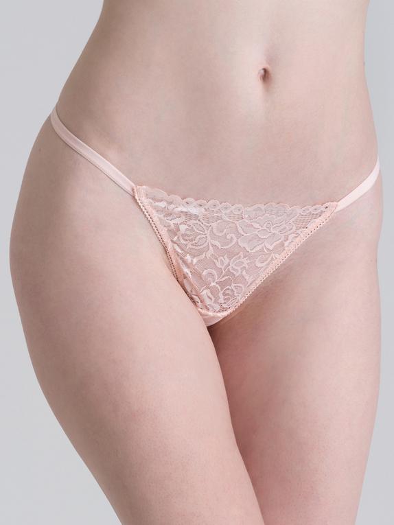 Lovehoney Flirty Black Lace G-String, Pink, hi-res