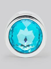 Lovehoney Blue Jewelled Metal Medium Butt Plug 3 Inch , Blue, hi-res