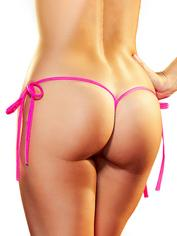 Lapdance Black Tie-Side V-String, Pink, hi-res