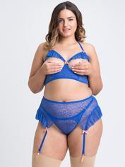 Lovehoney Fleur Allure Blue Lace Open-Cup Bra Set, Blue, hi-res