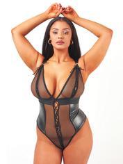 Brand X Eileen Black Wet Look and Fishnet Teddy, Black, hi-res