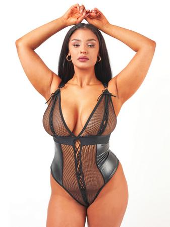 Brand X Eileen Black Wet Look and Fishnet Teddy