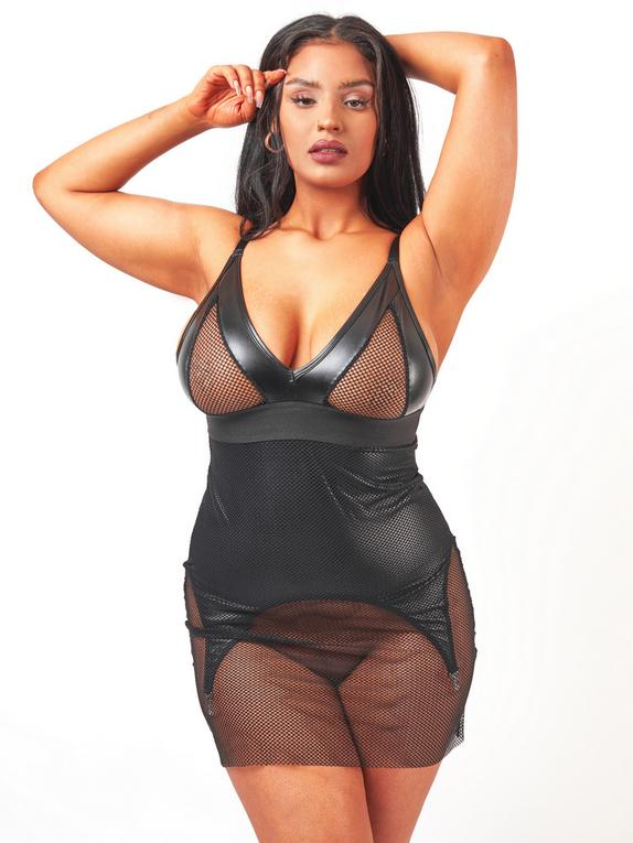 Brand X Layer Cake Fishnet and Wet Look Garter Dress, Black, hi-res