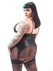 Brand X Layer Cake Fishnet and Wet Look Suspender Dress, Black, hi-res