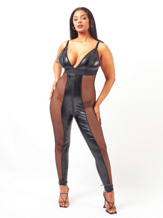 Brand X Slippery When Wet Fishnet and Wet Look Zip-Around Catsuit , Black, hi-res