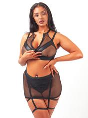 Brand X Split Decision Wet Look and Fishnet Bra and Skirt Set, Black, hi-res