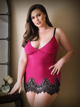 Fantasy Plus Size Pink Lace Trim Chemise Set
