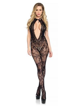 Leg Avenue Black Floral Lace Keyhole Bodystocking