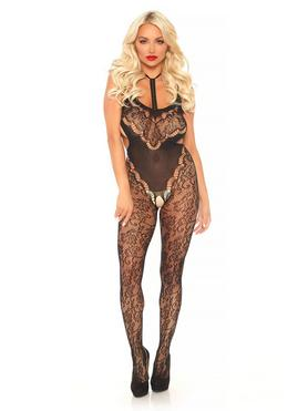 Leg Avenue Black Lace Halterneck Cut-Out Crotchless Bodystocking