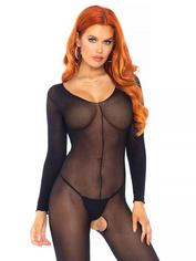 Leg Avenue Black Sheer Long Sleeve Crotchless Bodystocking, Black, hi-res