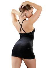 Cottelli Black Velvet and Lace Plunge Mini Dress , Black, hi-res