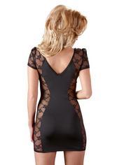 Cottelli Black Zip Front Sheer Panel Dress, Black, hi-res