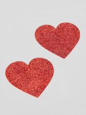 Cottelli Red Glitter Heart Nipple Pasties, Red, hi-res