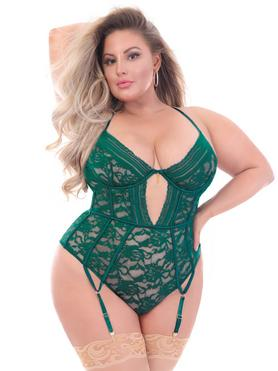 Seven 'til Midnight Plus Size Green Floral Lace Underwired Thong Body