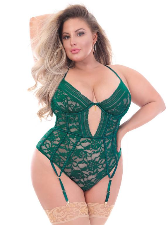 Seven 'til Midnight Plus Size Green Floral Lace Underwired Thong Body, Green, hi-res