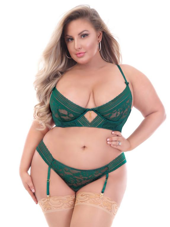 Seven 'til Midnight Plus Size Green Floral Lace Underwired Bra Set, Green, hi-res