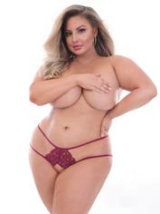 Seven 'til Midnight Plus Size Black Crotchless Lace Satin Bow Panties, Red, hi-res