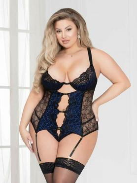 Seven 'til Midnight Plus Size Blue Satin and Lace Bustier Set