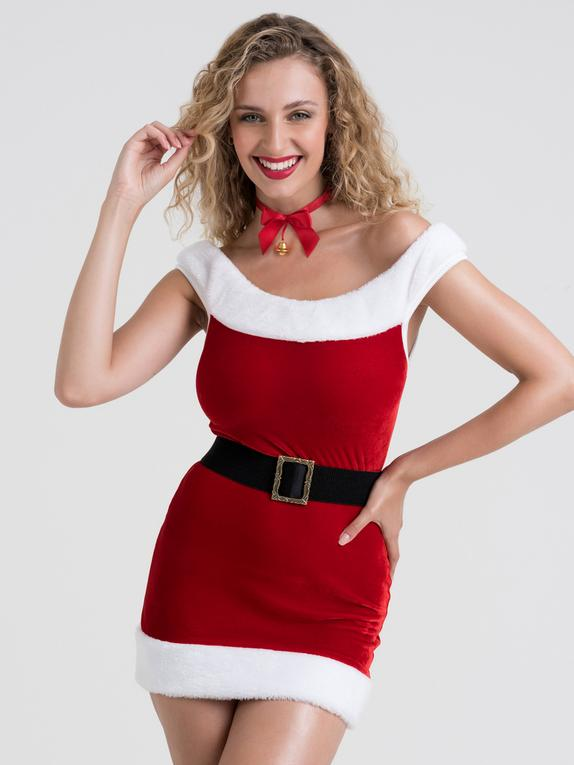 Lovehoney Santa Baby Red Bodycon Mini Dress, Red, hi-res