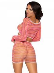 Leg Avenue Pink Zig-Zag Crop Top and Mini Skirt Set, Rainbow, hi-res