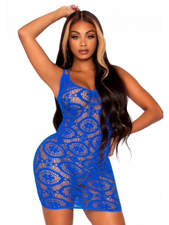 Leg Avenue Blue Daisy Crochet Lace Mini Dress, Blue, hi-res