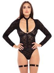 Rene Rofe Black Lace Harness Teddy Set, Black, hi-res