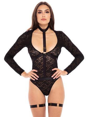 Rene Rofe Black Lace Harness Teddy Set