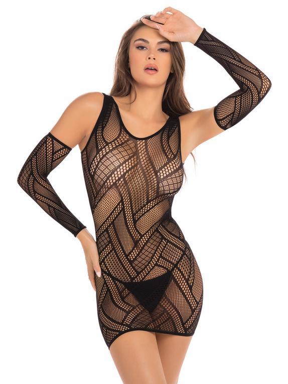 Rene Rofe Black Crochet Lace Mini Dress Set , Black, hi-res