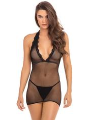 Rene Rofe Black Fishnet Halterneck Mini Dress, Black, hi-res