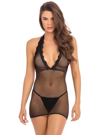 Rene Rofe Black Fishnet Halterneck Mini Dress