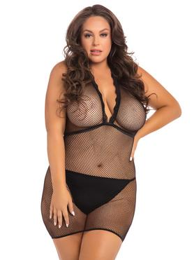 Rene Rofe Plus Size Black Fishnet Halterneck Mini Dress